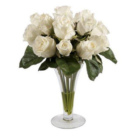 Silk Roses In Trumpet Vase