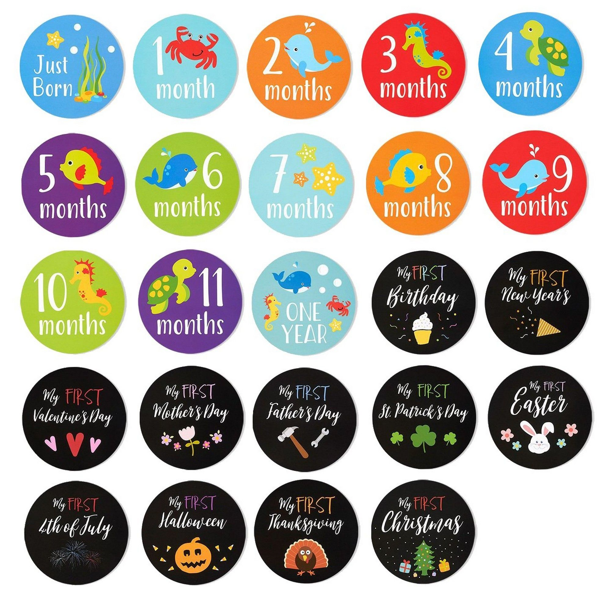 Monats-Sticker WanMei 1 Set Baby-Meilenstein-Gedenktafel aus Holz Monatsklotz Fotografie