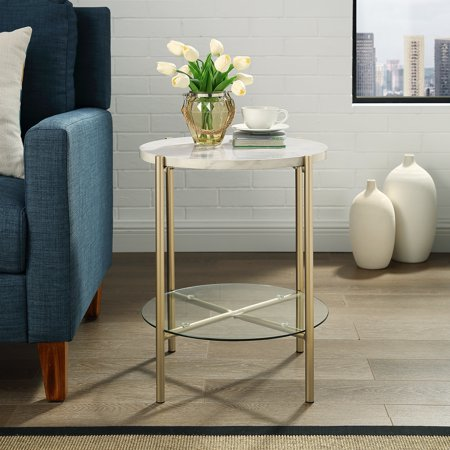 Lola Faux White Marble End Table by Bellamy Studios