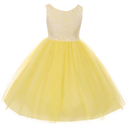 Little Girl Sleeveless Lace Bodice Illusion Tulle Easter Flower Girl Dress USA Yellow 2 KD 414 BNY Corner