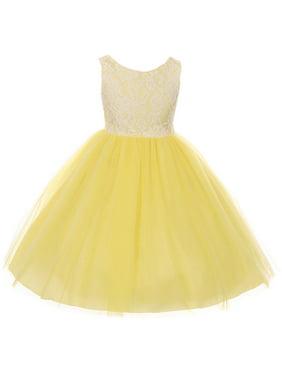 05bafe09dd Product Image Little Girl Sleeveless Lace Bodice Illusion Tulle Easter Flower  Girl Dress USA Yellow 2 KD 414. BNY Corner