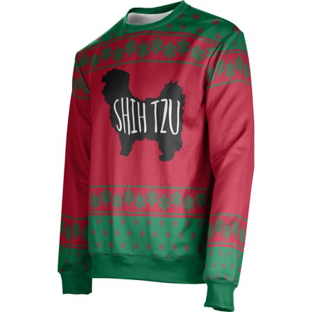 ProSphere Men's Shih Tzu (Red) Ugly Holiday Snowflake Sweater (Apparel) ()