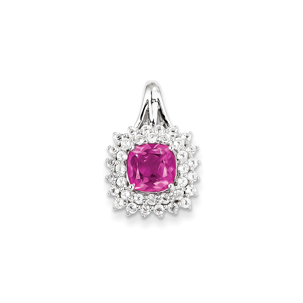 Sterling Silver White Topaz & Pink Tourmaline Square Pendant. Gem Wt- 1.9ct