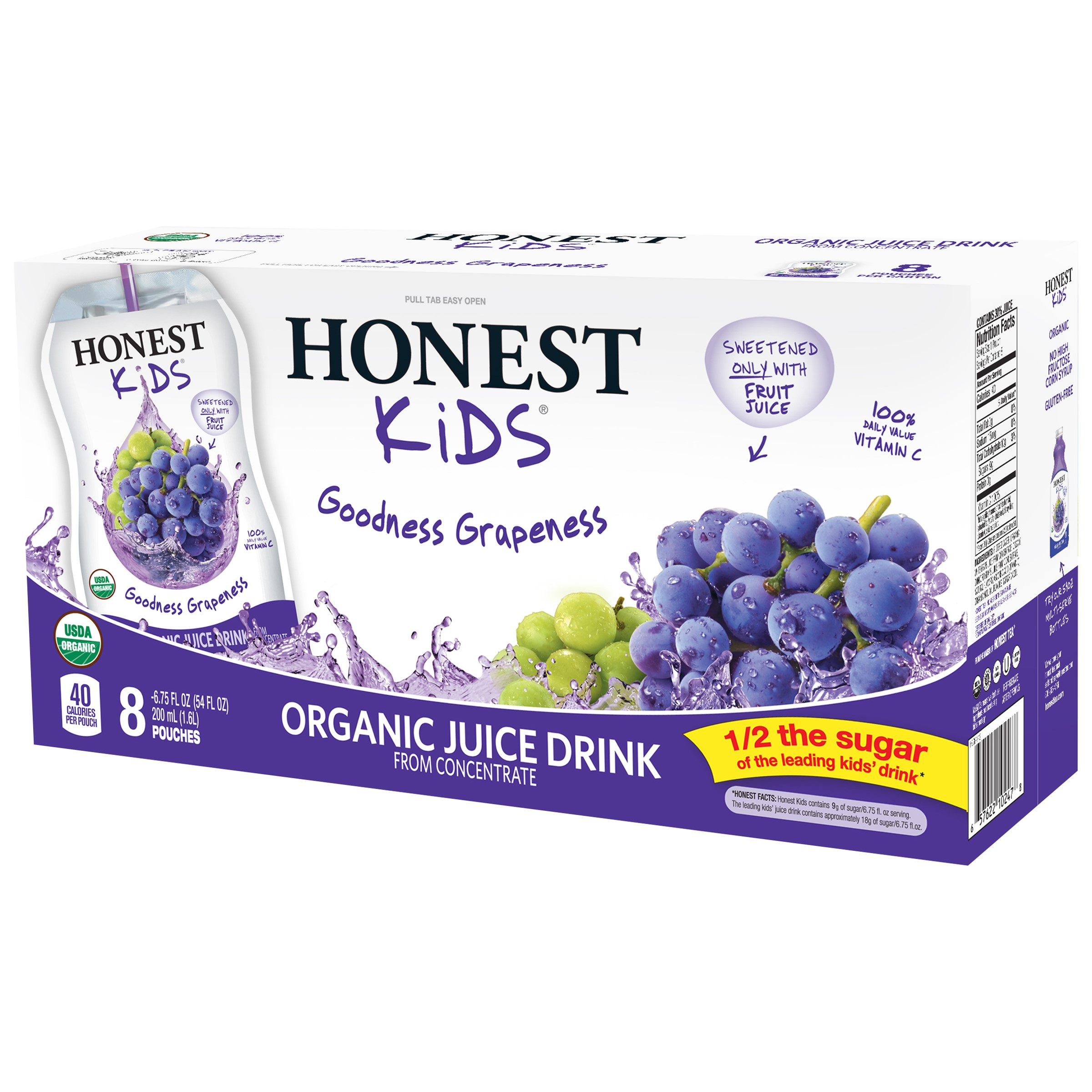 Honest Kids Goodness Grapeness Organic Juice Drink, 6.75 Fl. Oz., 8 Count
