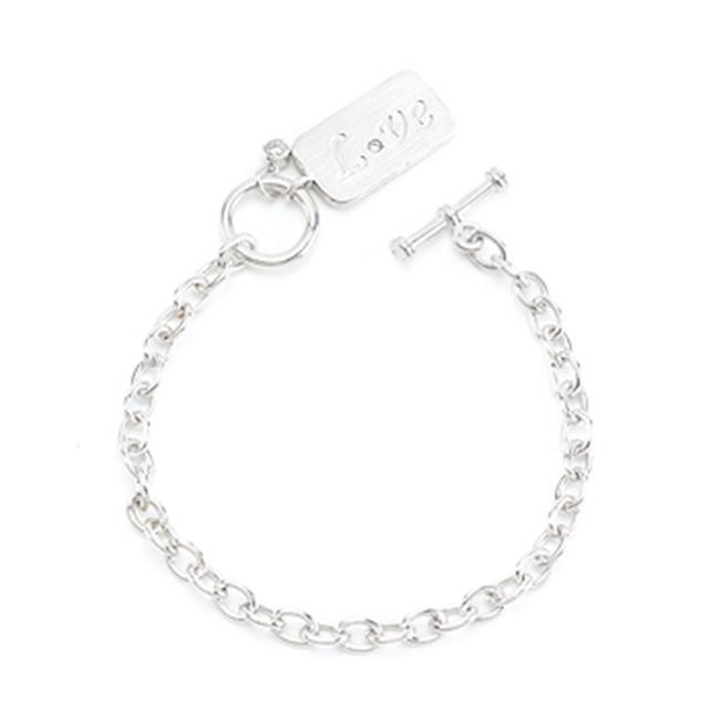 Kate Bissett B01467R-C01 Silvertone Love Charm Bracelet
