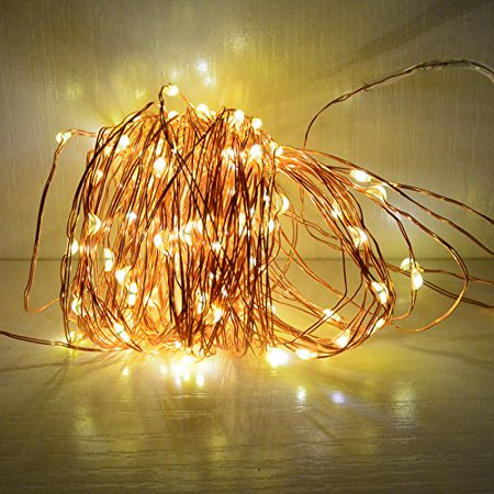 33ft Solar Powered String Lights Copper Wire Firefly Lights Indoor Outdoor Decoration String ...