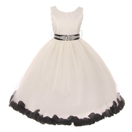 Girls Ivory Black Sash Petal Jewel Embellished Junior Bridesmaid