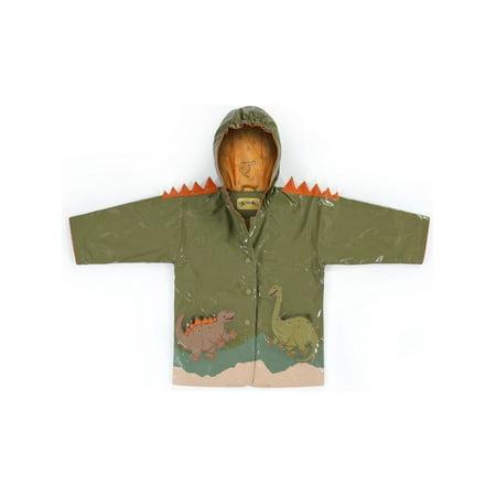 - Kidorable Little Boys Brown Dinosaur Orange Spike Hooded Rain Coat 2T-6X