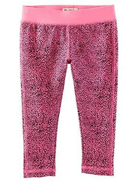 OshKosh B'gosh Little Girls' Althletic Active Capri- Hot Pink Leopard- 4 Kids