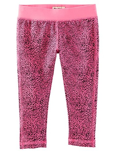 OshKosh B'gosh Little Girls' Althletic Active Capri- Hot Pink Leopard- 4 Kids