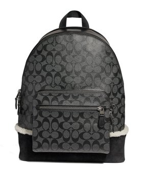 8449994b24 Product Image NEW MEN S COACH (F32673) WEST SIGNATURE SHEARLING BLACK PVC  LEATHER BACKPACK BAG