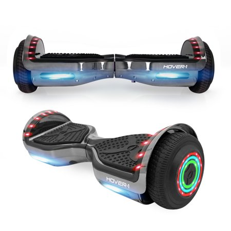 "Hover-1 Chrome Hoverboard W/ 6.5"" Wheels, Built-In Bluetooth Speaker, LED Headlights & Ultrabright LED Wheel Lights, Built-In Rechargeable Lithium-Ion Battery W/ 4.5-Hour Max Charge Time - Gun Metal"