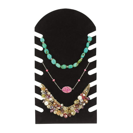 Easel Chain Necklace - Slotted Black Flocked Necklace Display Easel (7½