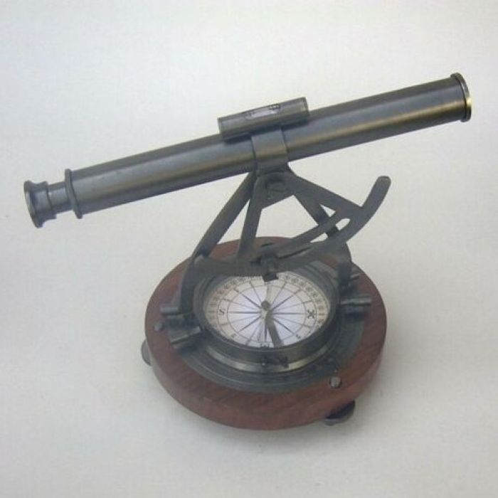 India Overseas Trading BR48400 Alidade Theodolite Compass, Wooden Base by