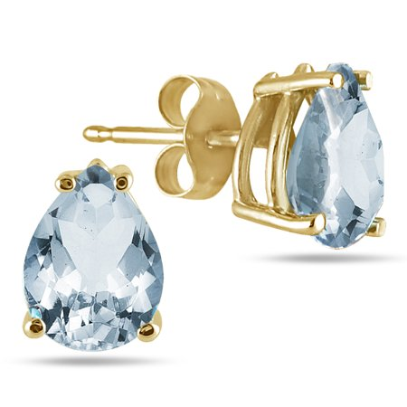 Aquamarine Pear Earrings - All-Natural Genuine 7x5 mm, Pear Shape Aquamarine earrings set in 14k Yellow gold