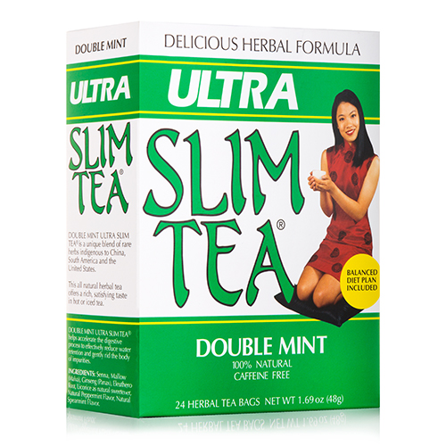Ultra Slim Tea Double Mint - 24 Tea Bags (1.69 oz / 48 Grams) by Hobe Labs