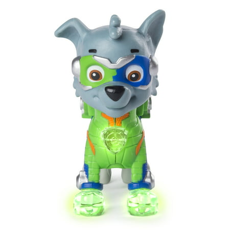 PAW Patrol - Mighty Pups Rocky Figure with Light-up Badge and Paws, for Ages 3 and Up, Wal-Mart Exclusive