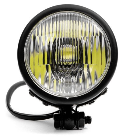 "Krator 4.25"" Mini Headlight w/ High and Low Beam + Fog Lights LED Bulb Black Housing for Yamaha Virago XV 250 500 535 700 750 920 1100 - image 1 of 8"