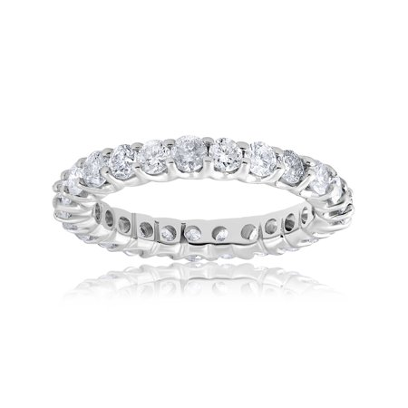 2 cttw Diamond Eternity U Prong Ring Womens Stackable 14k White Gold Band