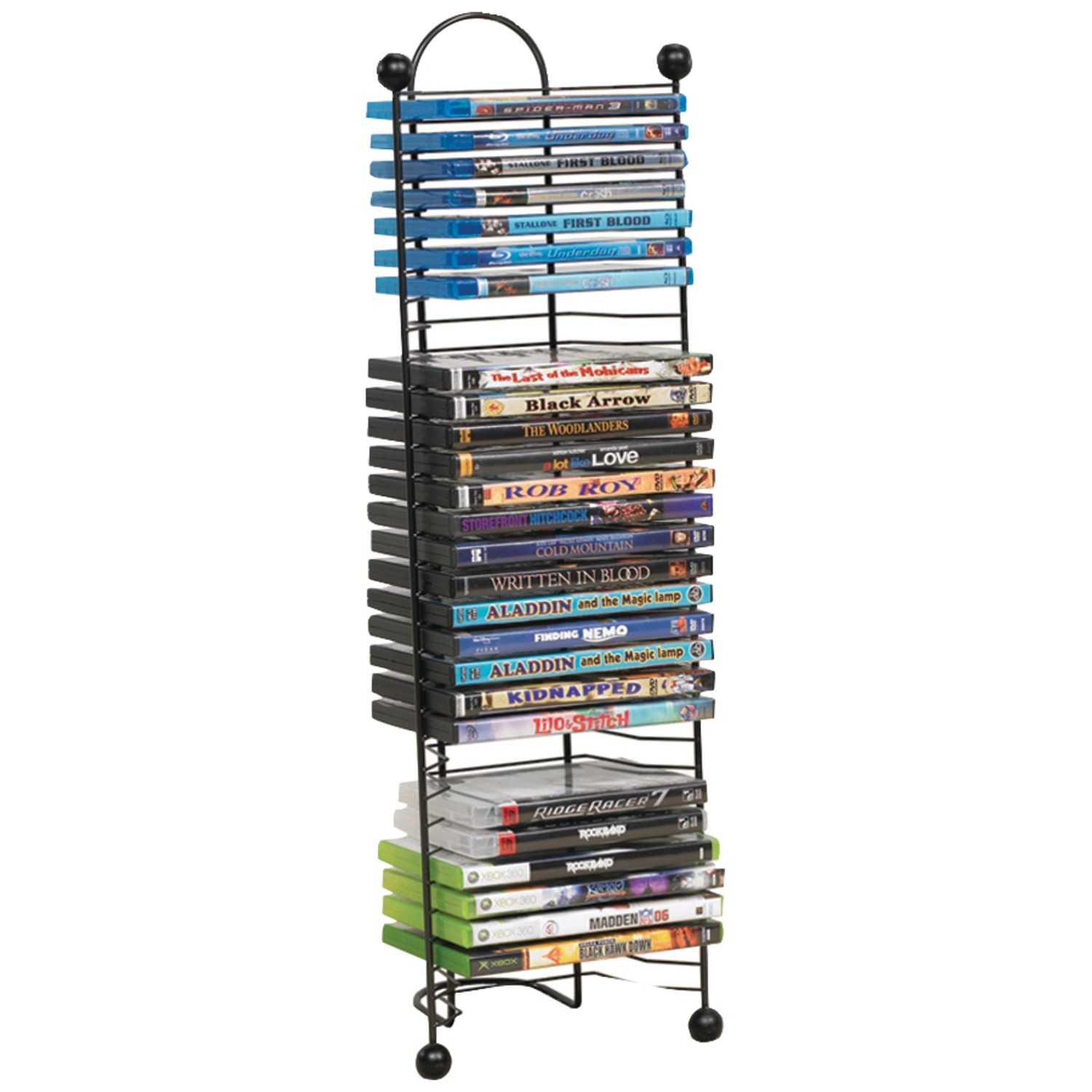 "Atlantic 27"" Nestable 32 CD/ DVD/ BluRay Storage Tower, Black"