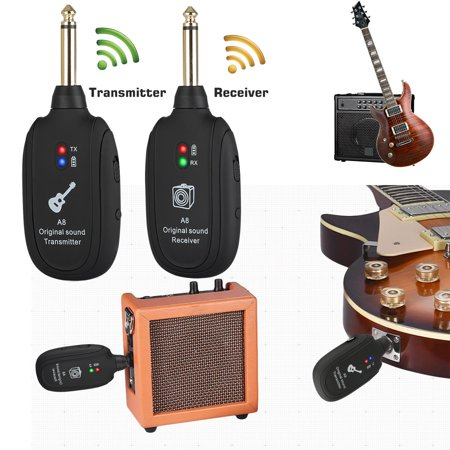 TSV Compact Wireless Guitar Transmitter and Receiver Combo, Portable USB Rechargeable Wireless Guitar System for Electric Guitar Bass to Amplifier, 6 hours Working Time. Plug&Play