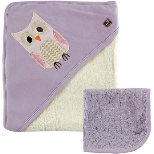 Hudson Baby Bamboo Hooded Towel and Washcloth, Girl, Choose Your Color