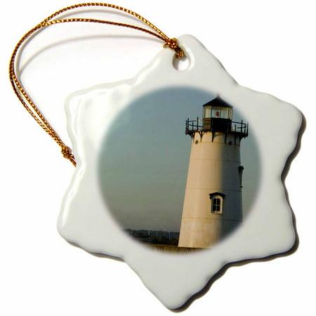 3dRose MA, Marthas Vineyard, Edgartown Lighthouse - US22 WBI0309 - Walter Bibikow - Snowflake Ornament, 3-inch ()