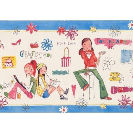 "Girls Rule Rock Alabaster White Blue Trim Teens Wallpaper Border for Bedroom Bathroom, Roll 15' x 9"" - image 3 de 3"