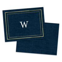 Personalized Faux Linen Folded Note Card
