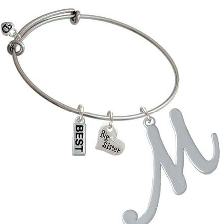 Large Gelato Script Initial   M   Big Sister Heart Expandable Bangle Bracelet