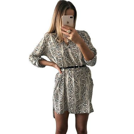 Long Roll-Up Sleeve Dress for Women Casual V Neck T Shirt Tunic Dress Leopard Stripes Print Loose Party Clubwear Blouse Tops