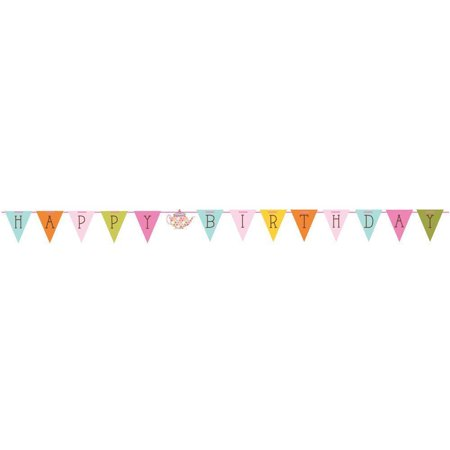 Tea Time Birthday Party Flag Shaped Ribbon Banner - Birthday Tea Party