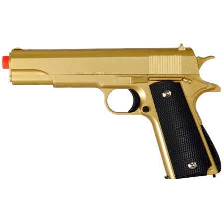 COLT 1911 METAL AIRSOFT SPRING ACTION PISTOL M1911 M9 GUN - GOLD (Colt 1911 Co2 Pistol 17 Rds Metal Magazine)