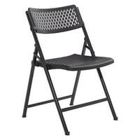 National Public Seating 1410 Airflex Series Premium Polypropylene Folding Chair - Black, Pack of 4