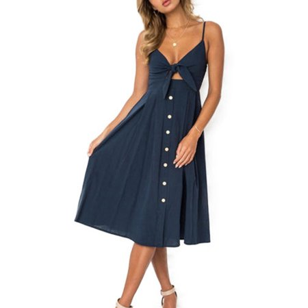 Womens Vintage Strappy V-neck Knot Button Summer Beach Mini Dress Swing