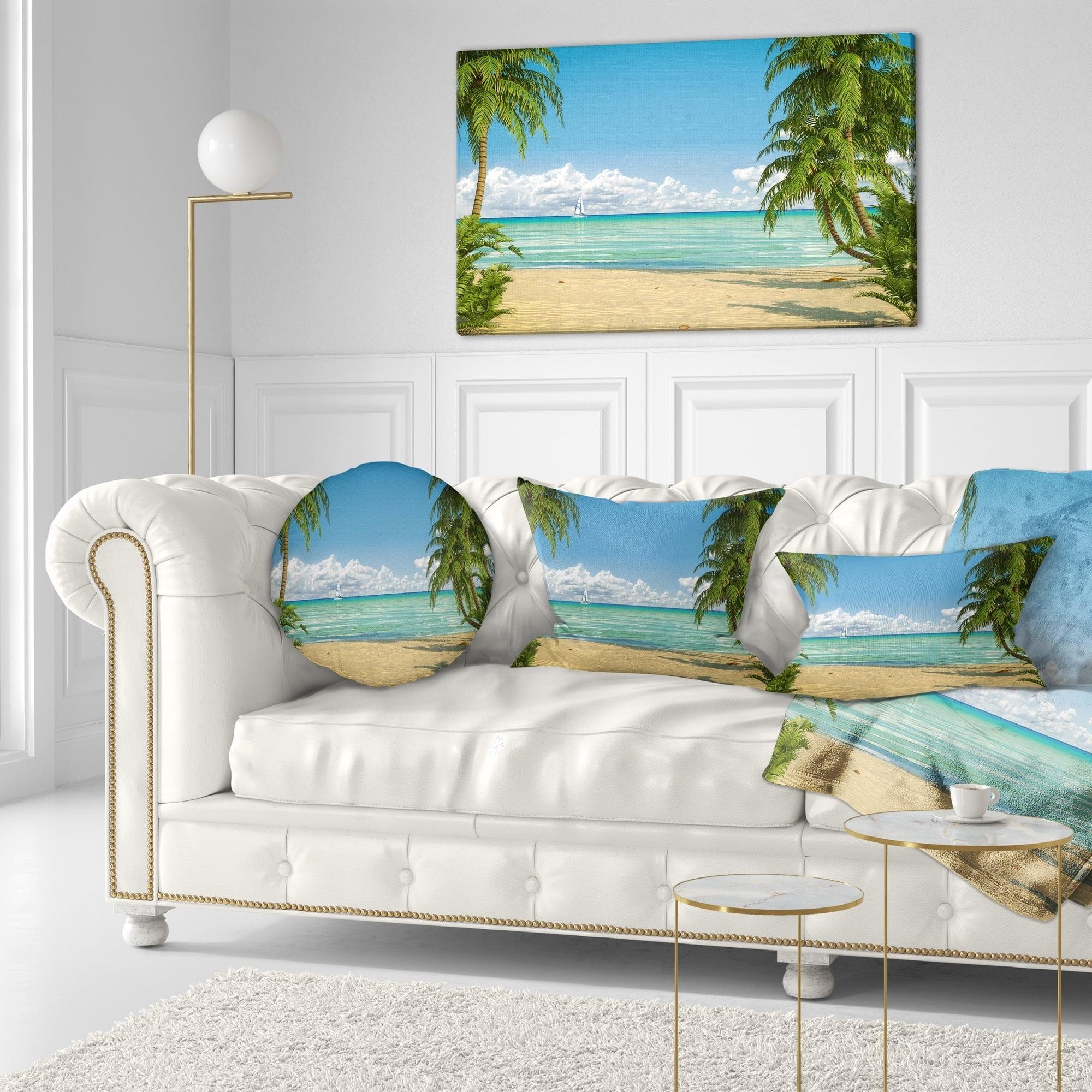 Sofa Throw Pillow 16 Insert Printed On Both Side Designart CU9447-16-16-C Palms at Caribbean Beach Seashore Photo Round Cushion Cover for Living Room