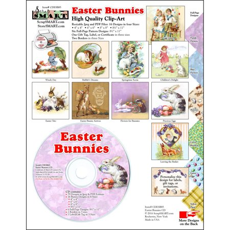 ScrapSMART Easter Bunnies Clip-Art CD-ROM, Vintage Images for Scrapbook, Craft, Sewing