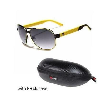 Classic Retro Vintage Men Fashion PILOT Sunglasses Racing Sports Glasses YEL