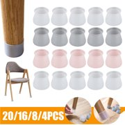 20/16/8/4 PCS Silicone Furniture Chair Legs Caps, Furniture Leg Silicon Protection Covers, Anti-Slip Table Feet Pad Floor Protector, Round Furniture Table Feet Covers, Not Easy Fall Off, Transparent