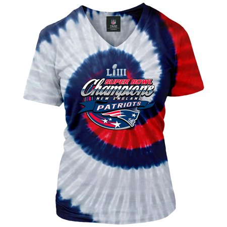 New England Patriots NFL Pro Line by Fanatics Branded Women's Super Bowl LIII Champions Tie Dye Spiral V-Neck T-Shirt - Navy/Red
