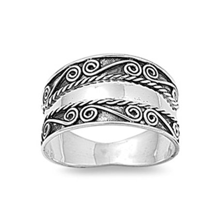 Bali Swirl Braided Rope Wide Thumb Ring New .925 Sterling Silver Band Size 8 ()