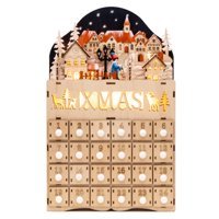 Best Choice Products Wooden Christmas Village Advent Calendar w/ Battery-Operated LED Light Background