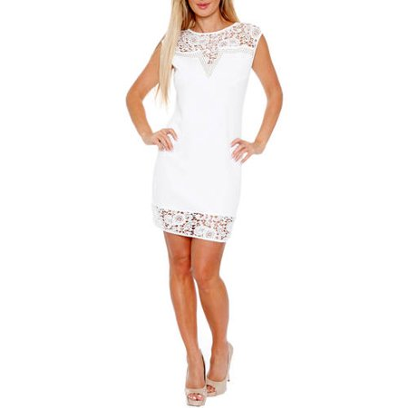 White Mark Women's Women's Lace Trim Mini Dress