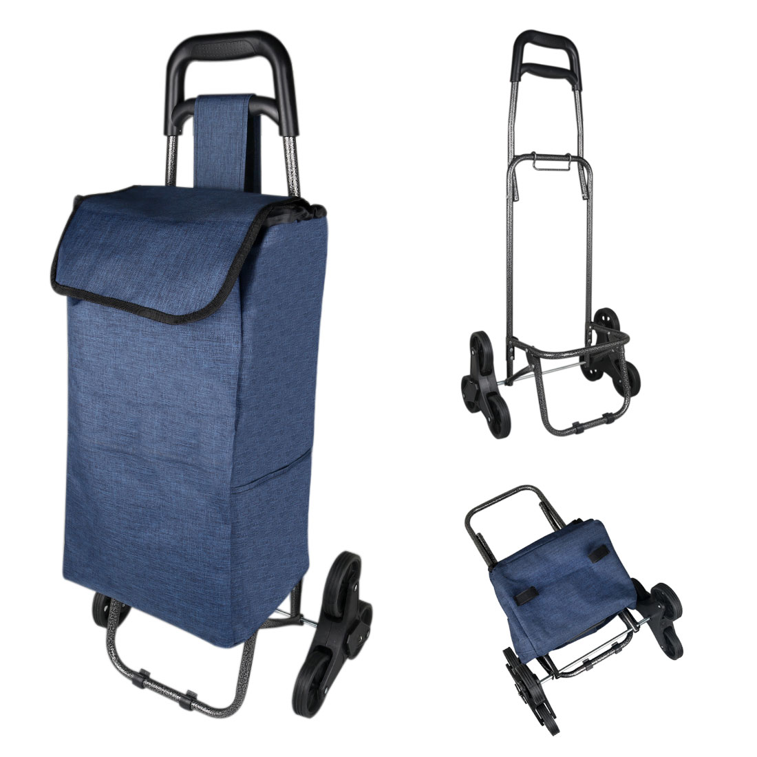 Folding Shopping Trolley Stair Climbing Cart with Bag for Grocery Laundry Utility Cart