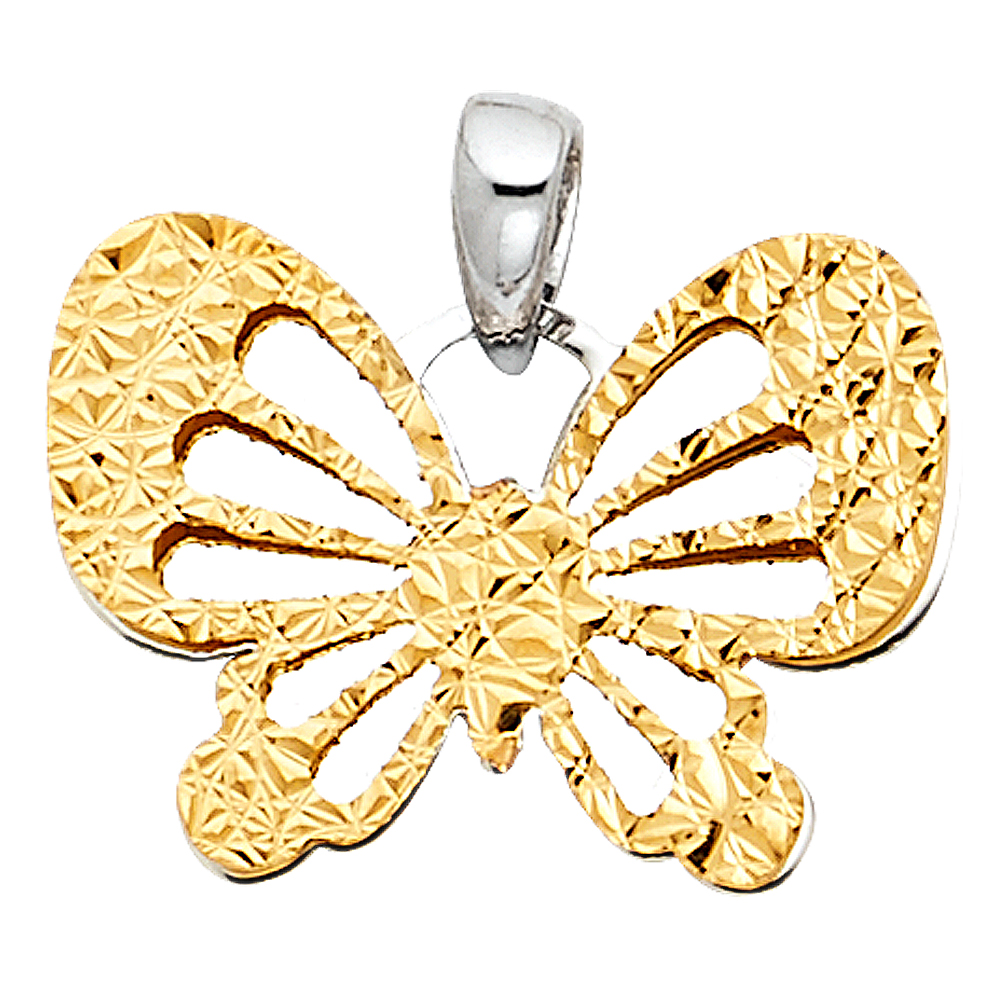 Paradise 14K Solid Two-Tone Gold Butterfly Pendant