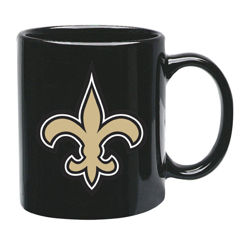 New Orleans Saints 15 oz Black Ceramic Coffee Cup