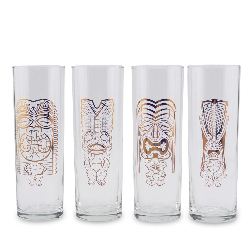 Luminarc Copper Tiki Gods Highball Collins Glass Set - 13 oz - 4 Pieces