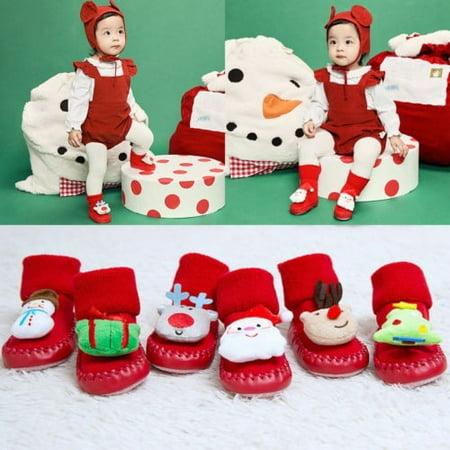 5166735d38 VISgogo - Christmas Xmas Baby Girl Boy Anti-Slip Winter Warm Santa Claus  Slipper Socks Cotton Boots Socks - Walmart.com