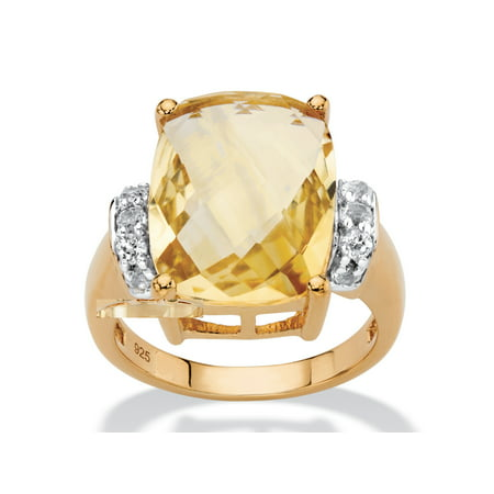 Citrine Cocktail Ring - Cushion-Cut Genuine Citrine and White Topaz Cocktail Ring 8.60 TCW in 14k Yellow Gold over Sterling Silver