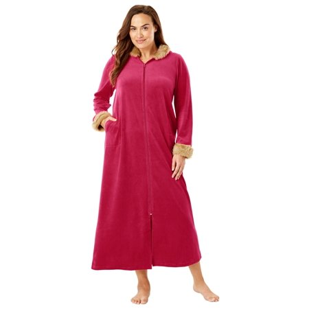 Dreams & Co. Plus Size Fur-trimmed Hooded Robe (Plus Size Hooded Robe)